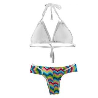Women Swimming Spandax Breathable Padded Bikini Swimsuit Suits Swimwear White S