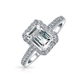 Bling Jewelry Emerald Cut 1.5ct CZ Vintage Style .925 Silver Engagement Ring