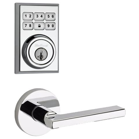 Kwikset 909CNT-HFLRDT-S SmartCode Electronic Deadbolt with Halifax Lever and Round Rosette -