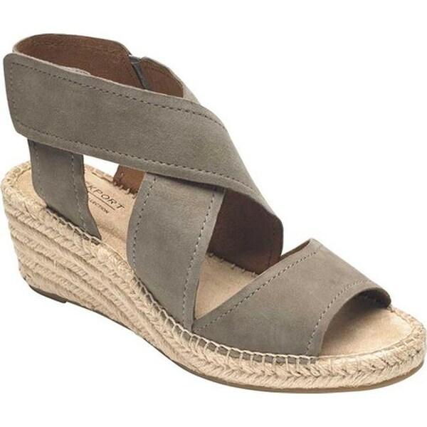 Rockport Women's Cobb Hill Kairi X Strap Wedge Sandal Taupe Leather