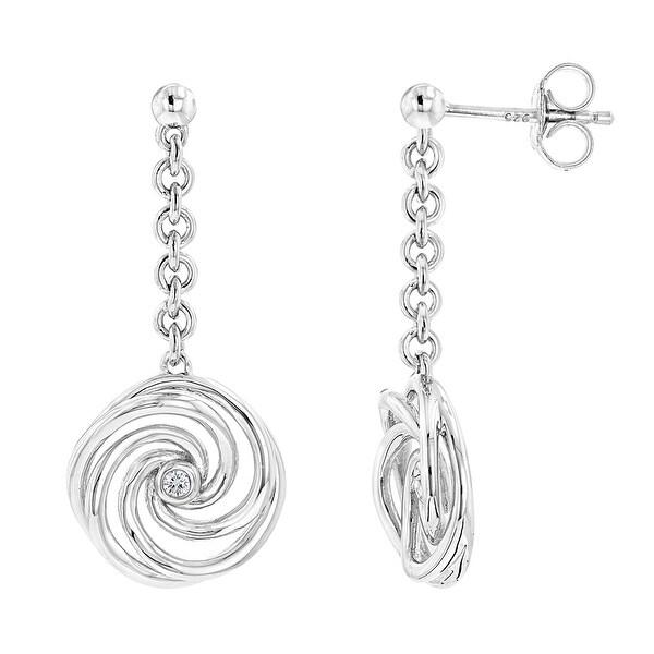 Luxurman Love Quotes: 925 Sterling Silver Women Diamond Drop Earrings Angel Wing Studs, Swirl, Oval, Infinity. Opens flyout.