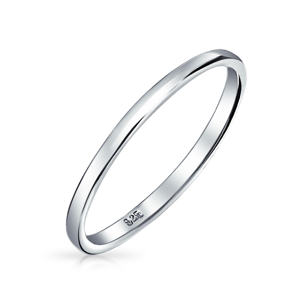 It is a picture of Thin Stackable 48 Sterling Silver Couples Wedding Band Rings 48MM