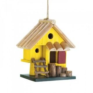 Cozy Yellow Wood Birdhouse