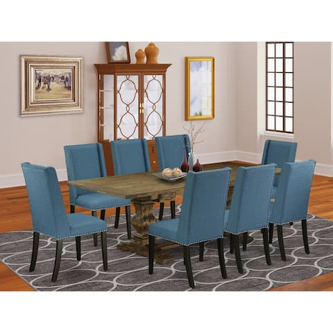 9 Pc Kitchen Dining Set with Rectangle Table and Parson Chairs