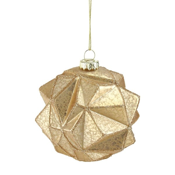"Gold Geometric Glitter Mercury Glass Ball Christmas Ornament 4"" (100mm)"