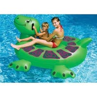 "75"" Inflatable Swimming Pool Giant Sea Turtle Ride-On Raft - Green"