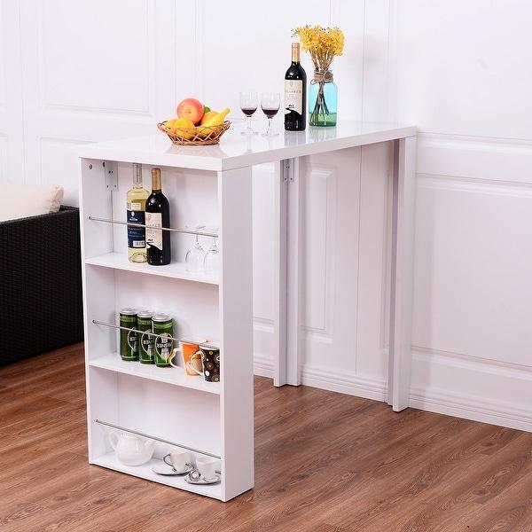 Modern Kitchen Bar Table: Shop Costway Modern Bar Table Storage Shelves Pub Bistro