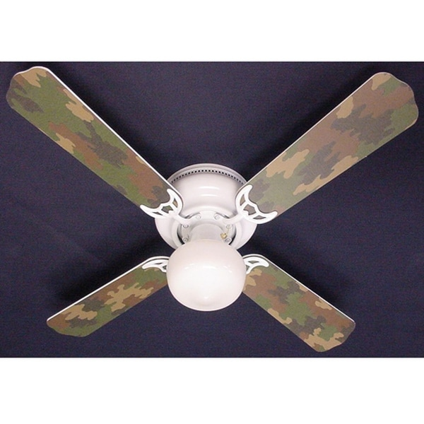 Cool Green Camouflage 42in Ceiling Fan Light Kit - Multi