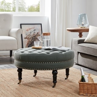 Belleze Round Button Tufted Cushion Ottoman Nailhead Trim w/ Caster Wheel, Gray