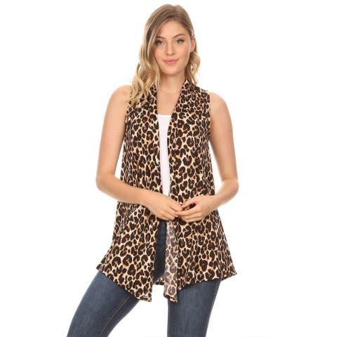 Women's Sleeveless Basic Pattern Print Sweater Outerwear Vest