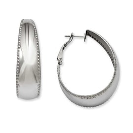 Stainless Steel Textured Edge 40mm Oval Hoop Earrings