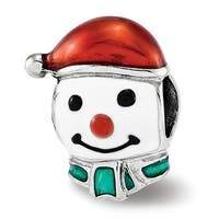 Sterling Silver Reflections Enameled Snowman Head Bead (4.5mm Diameter Hole)