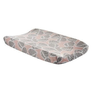 Lambs & Ivy Calypso Pink/Taupe Leaf Print Baby Changing Pad Cover
