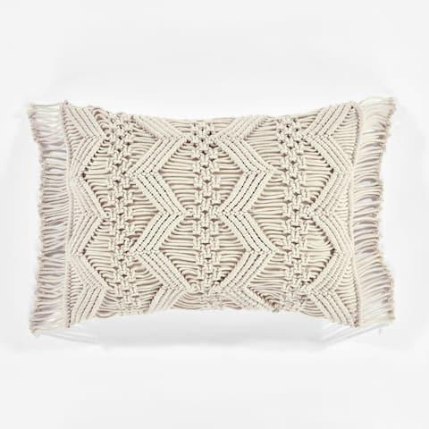 Lush Decor Studio Chevron Macrame Decorative Pillow Cover