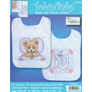 "Bedtime Prayer Boy Bib Pair Stamped Cross Stitch Kit-8""X10"" Set Of 2"