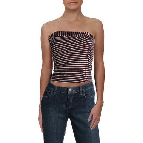 Intimately Free People Womens Tube Top Striped Cropped - Black Canyon Combo