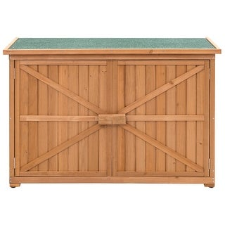 Gymax Double Doors Fir Wooden Garden Yard Shed Lockers Outdoor Storage Cabinet Unit - as pic