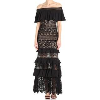 Tadashi Shoji Black Womens Size 2 Off Shoulder Ruffled Gown Dress