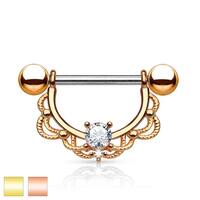 Cz Center Filigree Drop gold-plated Surgical Steel Nipple Ring (Sold Ind.)