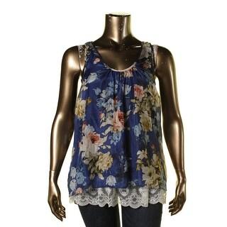 Karen Kane Womens Floral Print Silk Overlay Tank Top - XL
