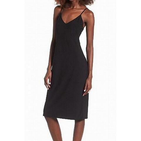 Leith Black V-Neck Women's Size Large L Knit Slip Sheath Dress