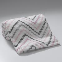 Lambs & Ivy Bunny Collection White/Pink/Gray Chevron Coral Fleece Baby Blanket