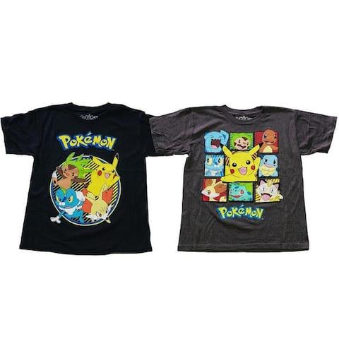 Pokemon Gotta Catch em all Pikachu Froakie Fennekin Chespin Gen 6 Starter Officially Licensed Childrens Poke T-Shirt 2 packs