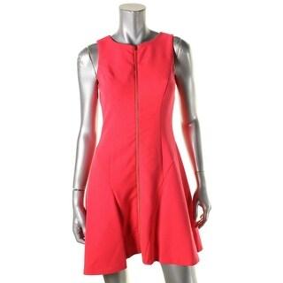 Lauren Ralph Lauren Womens Petites Flounce Dress Crepe Exposed Zipper