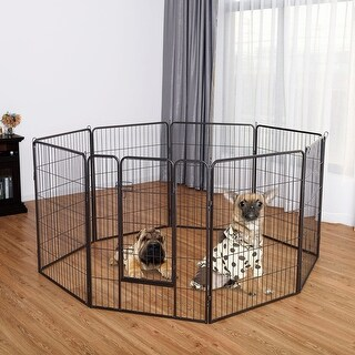 Gymax 40'' 8 Metal Panel Heavy Duty Pet Playpen Dog Exercise Pen Cat Fence Safety Gate