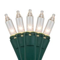 "Wintergreen Lighting 15199 33.7' Long Indoor Standard 100 Mini Light Holiday Light Strand with 4"" Spacing and Green Wire"