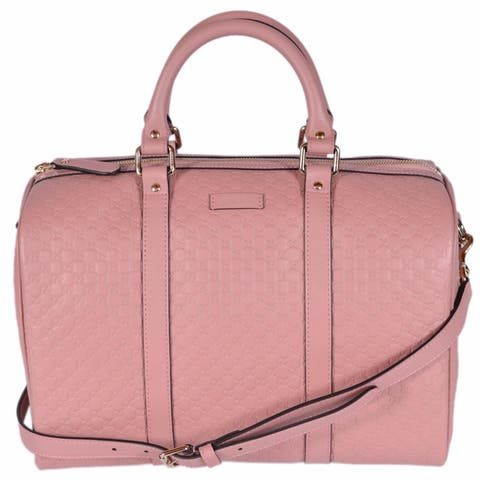 1632c516ef Gucci Pink Leather 449646 Micro GG Guccissima Boston Bag Satchel W/Strap -  Soft Pink