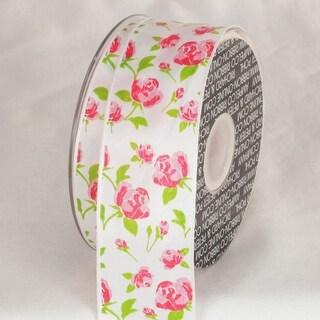 "White with Pink Carpet Rose Print Wired Craft Ribbon 1.5"" x 27 Yards"