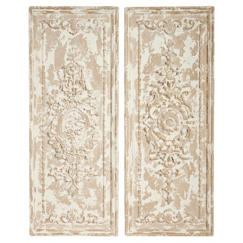 "Large Beige Rectangular Resin Wall Decor Panels 16"" x 41"" Set of 2"
