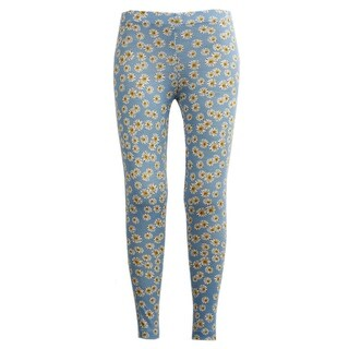 Girls Stretchy Leggings Trousers Blue Daisy