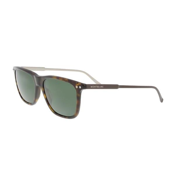 c14adc14d5 Shop Montblanc MB600S 52R Havana Rectangular Sunglasses - 55-18-145 ...