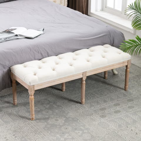 End of Bed Bench Upholstered Entryway Bench French Benchwith Rubberwood Legs
