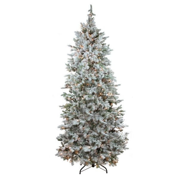 7.5' Pre-Lit Flocked Slim Colorado Spruce Artificial Christmas Tree - Clear Lights - green