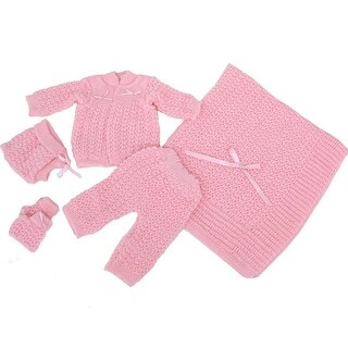 Baby Girl Pink Pants Hat Booties Sweater Blanket Newborn Set