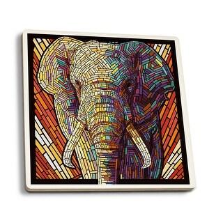 African Elephant - Paper Mosaic - LP Artwork (Set of 4 Ceramic Coasters)