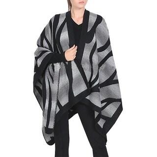 QZUnique Women's Irregular Stripes Blanket Scarf CardiganShawl Cape