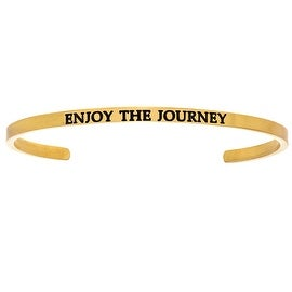 "Intuitions ""Enjoy the Journey"" Yellow Stainless Steel Cuff Bangle Bracelet"