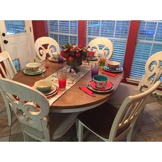 Farmhouse Antique Two-toned 5-piece Pedestal Table Dining Set