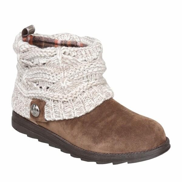 4eb27d0ec41a Shop Muk Luks Women s Patti Ankle Boots - Cable Knit Sweater Cuffs ...