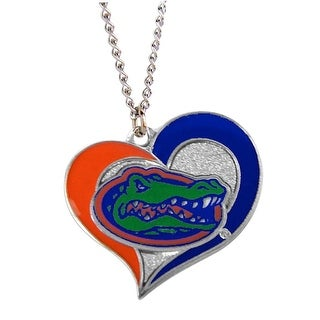 Florida Gators Swirl Heart Necklace NCAA Charm Gift