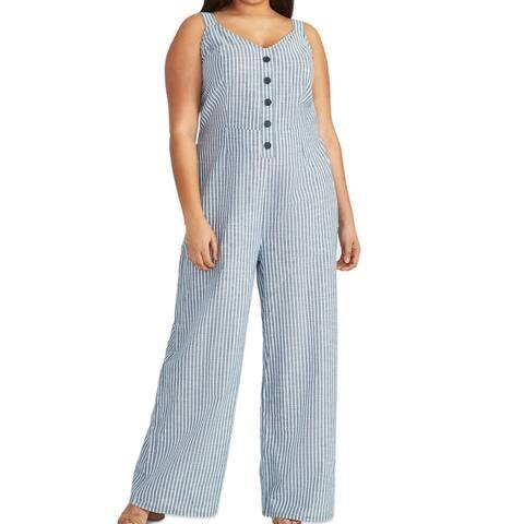 Rachel Rachel Roy Womens Zarita Jumpsuit Blue 16W Plus Striped Tie-Back