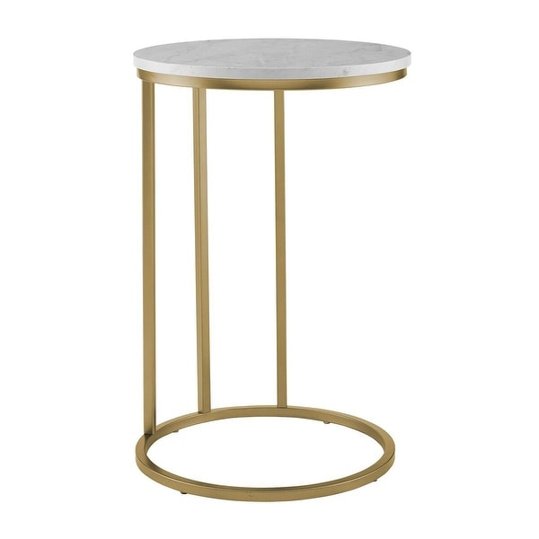 Offex 16 Round C Table With White Marble Top And Gold Base