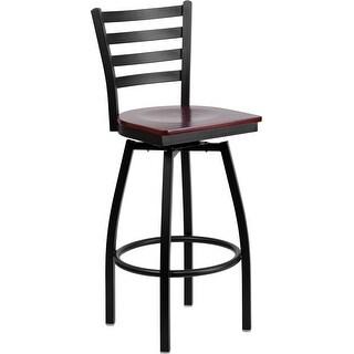 "Dyersburg 30"" High Black Ladder Back Swivel Metal Barstool, Mahogany Wood Seat"