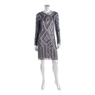 Adrianna Papell Womens Mesh Beaded Cocktail Dress
