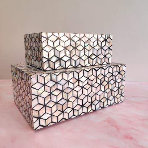 GAURI KOHLI Kaya Mother of Pearl Decorative Boxes (Set of 2)