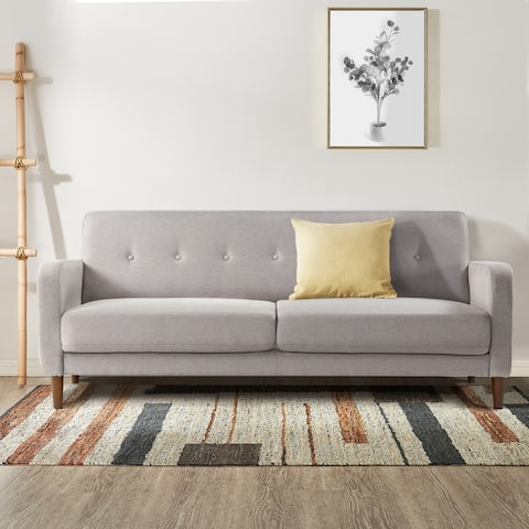 ADAIR Mid-Century Modern Loveseat / Sofa / Couch with Armrest Pockets, Tufted Linen Fabric, Light Grey - Crown Comfort